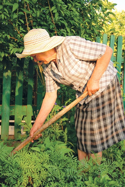 A woman is tending to her garden